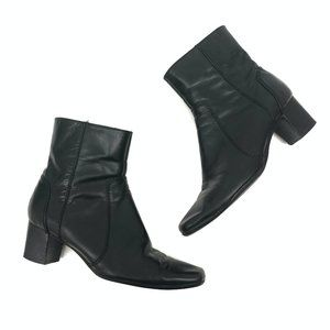 Nine West Black Leather Ankle Boots - Size 6 1/2